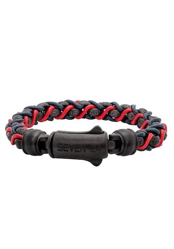 SEVEN-24 Armband »SEVEN-24,MS,ARMBAND,STAHL SCHWARZ,LEDER BLAU-ROT,M/L, SVMS015-M, SVMS015-L« kaufen