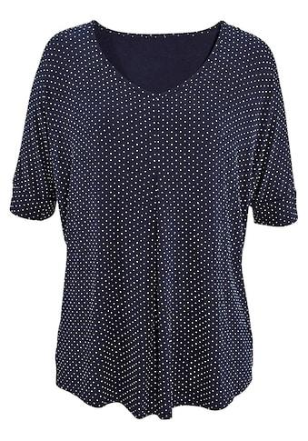 LASCANA T-Shirt, mit Kellerfalte und Pünktchen-Druck kaufen