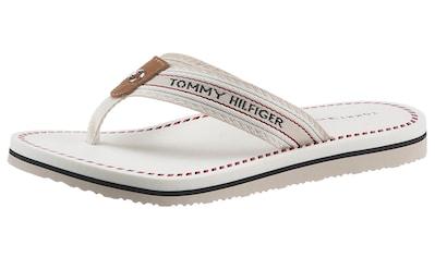 TOMMY HILFIGER Zehentrenner »TH ARTISANAL FLAT BEACH SANDAL«, mit Farb-Akzenten kaufen