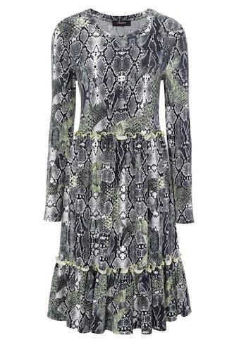 Aniston CASUAL Jerseykleid, in Schlangen-Optik mit Neongelben Akzenten kaufen