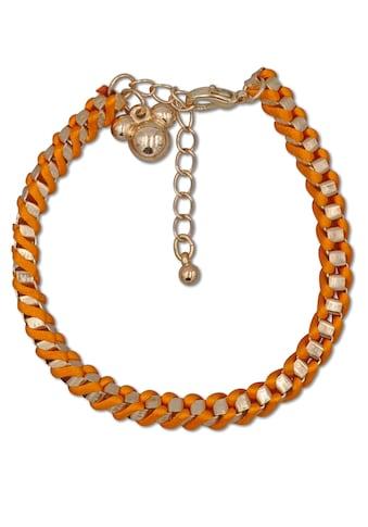 J.Jayz Armband »oranges Textilband, Würfelkette, geflochtene Optik« kaufen