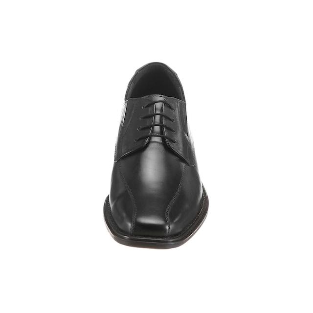 HIS Herren Sneaker Schuhe Schwarz Leder Optik Schnürschuhe