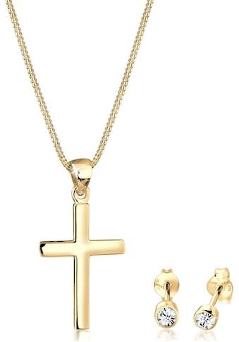 Elli Schmuckset »Kreuz, 0901522219, 0901862219, 0904841019«, mit Kristallen kaufen
