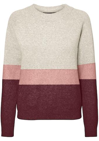 Vero Moda Rundhalspullover »VMDOFFY LS O-NCK BLOCK BLOUSE«, im Colourblock Look kaufen
