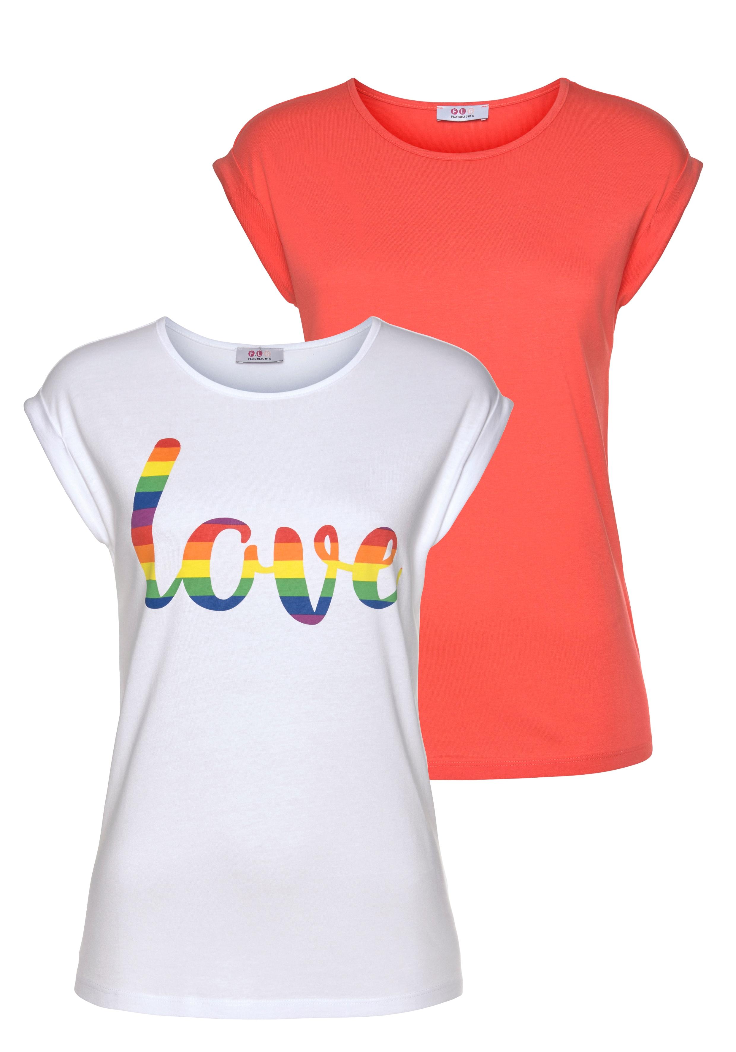 flashlights -  T-Shirt, mit überschnittenen Schultern & kleinem Ärmelaufschlag