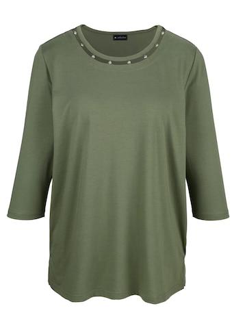 m. collection Rundhalsshirt, mit Perlendekoration am Rundhals kaufen
