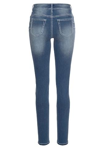 Arizona Slim-fit-Jeans »mit sichtbarer, schräger Knopfleiste«, Mid Waist kaufen