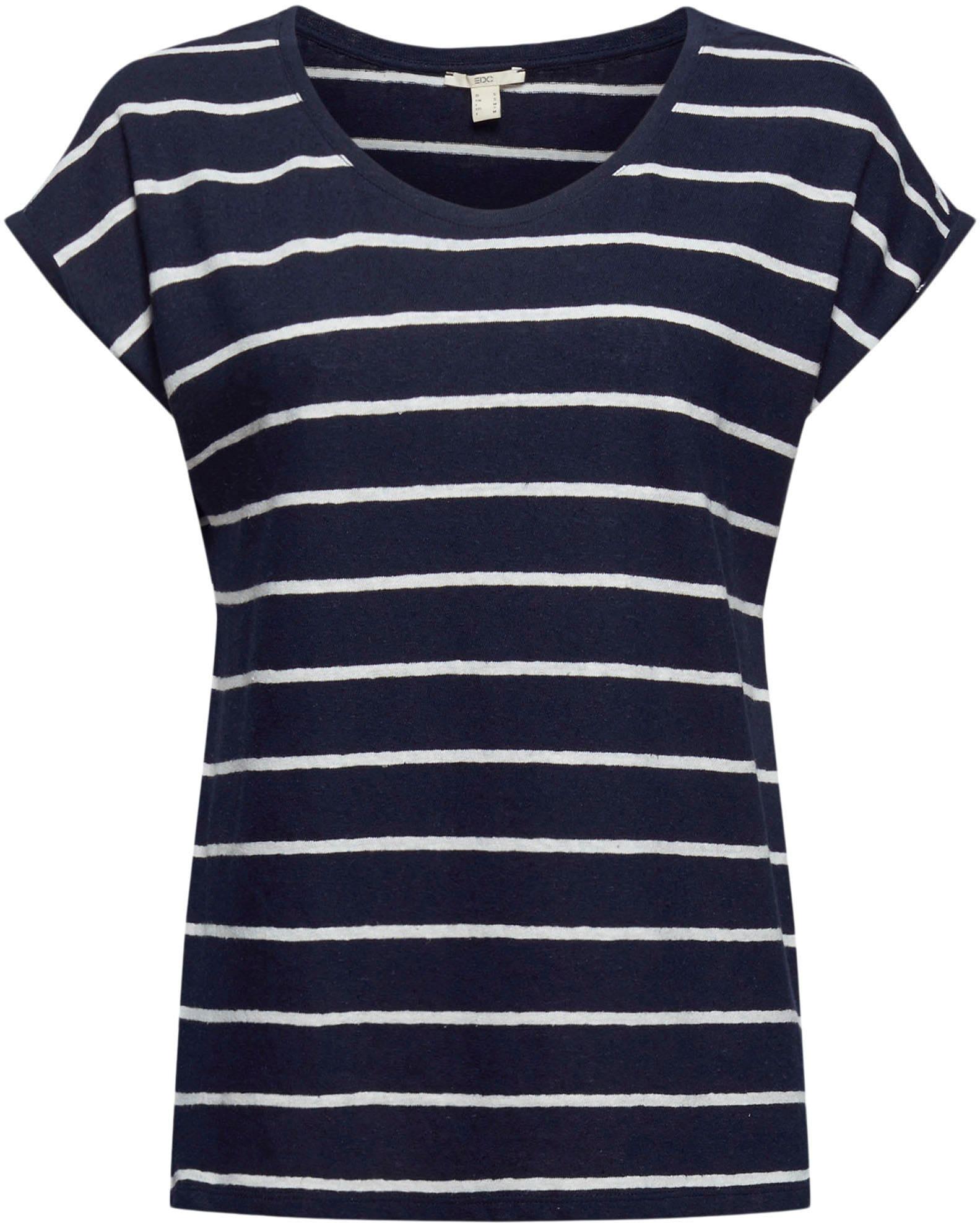 edc by esprit -  T-Shirt, in Leinenoptik und mit überschnittenen Schultern