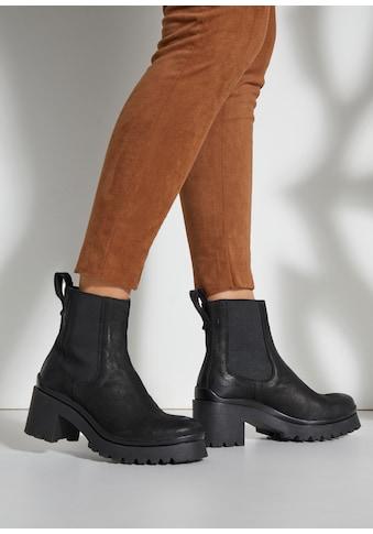 LASCANA Stiefelette, Chelsea Boots aus Leder mit modischem Blockabsatz kaufen