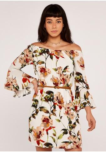 Apricot Druckkleid »Hibiscus Flute Sleeve Bardot Dress«, mit Bardot-Ausschnitt kaufen