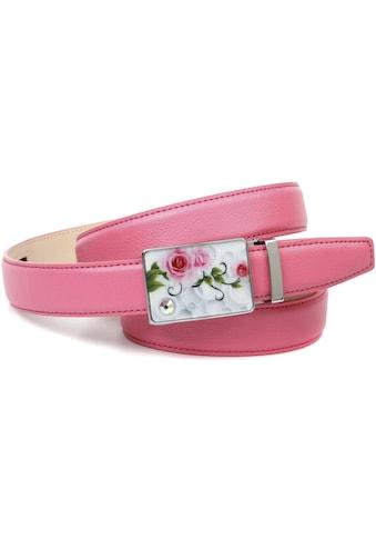 Anthoni Crown Ledergürtel, stilvoll in rosa mit silberfarbener Schließe kaufen