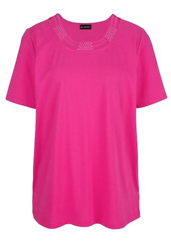 m. collection Rundhalsshirt, mit Bändchen- und Strasssteindekoration am Rundhals kaufen