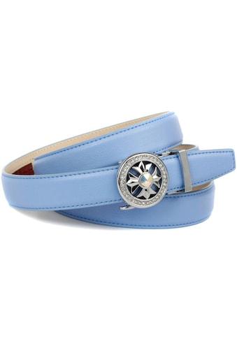 Anthoni Crown Ledergürtel, in hellblau mit Kristall-Glas-Schnalle kaufen