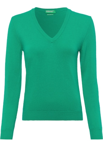 United Colors of Benetton V-Ausschnitt-Pullover, in kombistarker Basic-Form kaufen