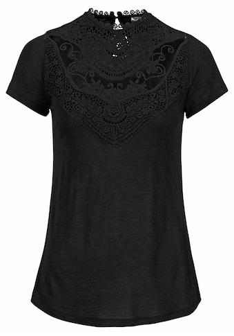 Laura Scott Rundhalsshirt, mit aufwendigem Spitzeneinsatz vorne kaufen