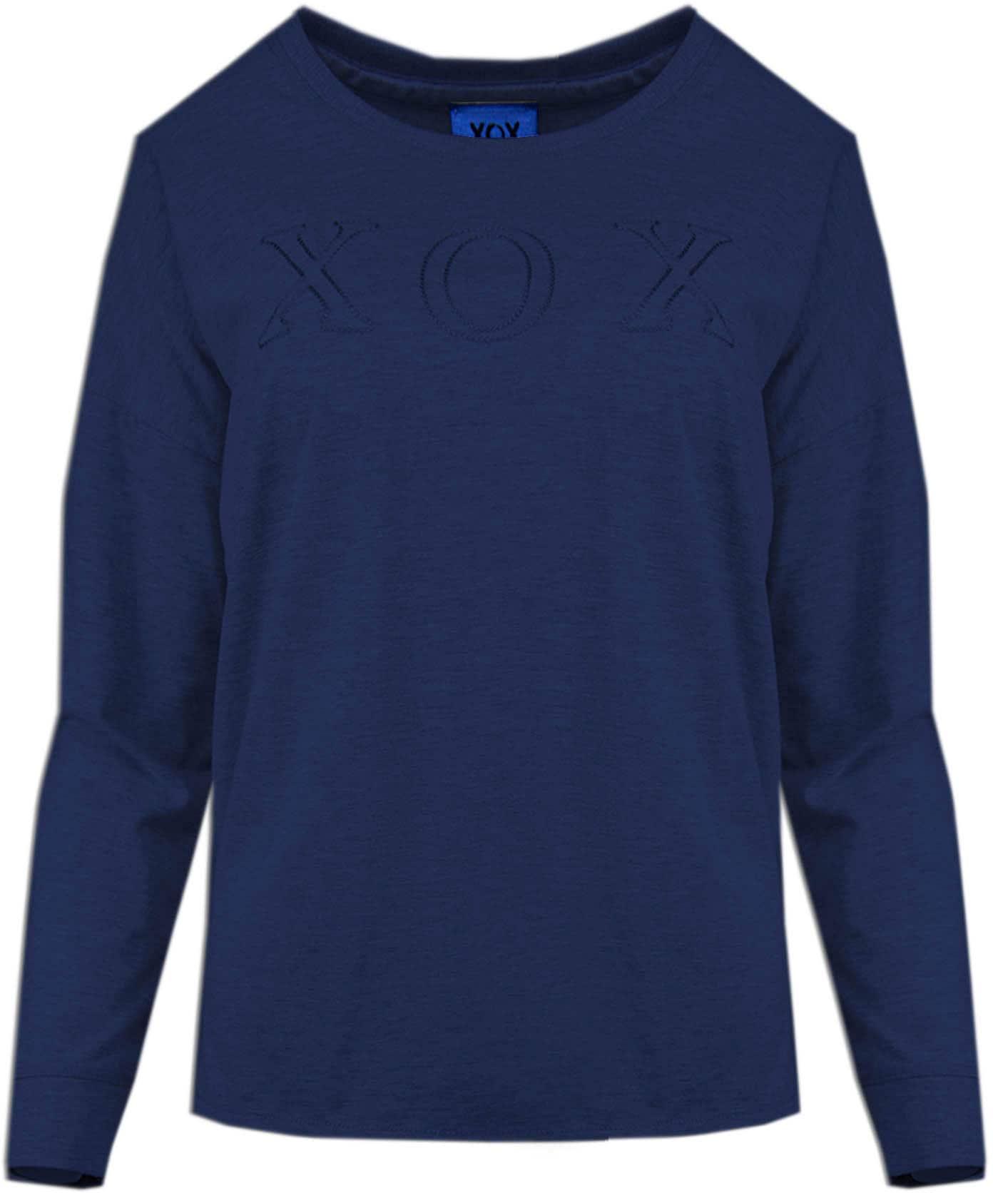 xox -  Rundhalsshirt, meliertes Shirt mit großer Logo-Stickerei