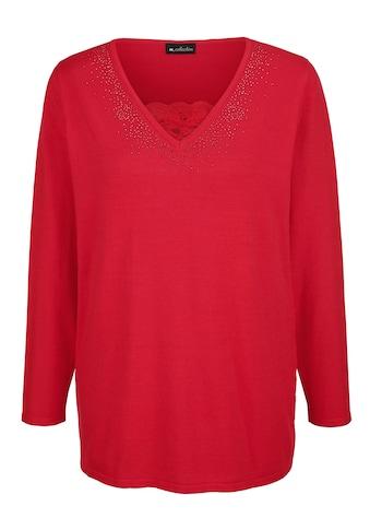 m. collection V-Ausschnitt-Pullover, mit Plättchendekoration am Ausschnitt kaufen
