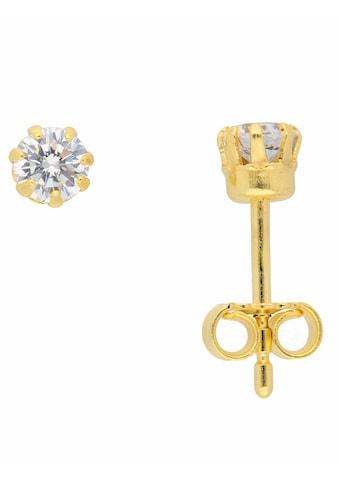 Adelia´s Paar Ohrhänger »333 Gold Ohrringe / Ohrstecker mit Zirkonia Ø 4 mm« kaufen