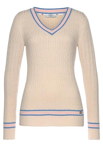 TOM TAILOR Polo Team V-Ausschnitt-Pullover, mit Kontrast Streifen kaufen