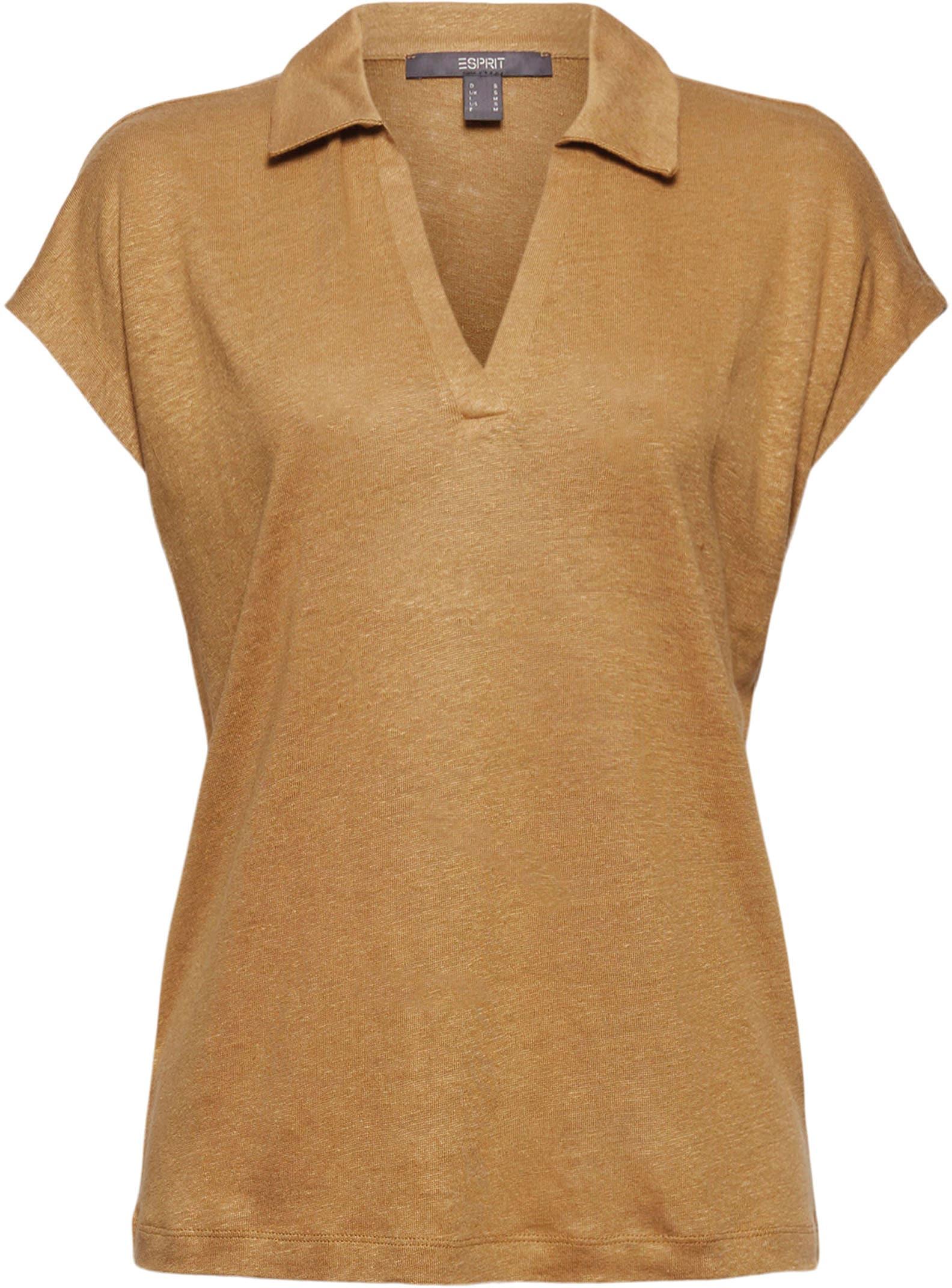 esprit collection -  Poloshirt, mit überschnittenen Schultern und aus Reinem Leinen-Jersey