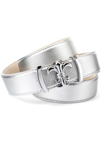 Anthoni Crown Ledergürtel, mit Lilien-Schließe, abgesteppte Ränder kaufen