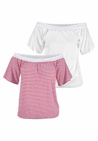 Beachtime Carmenshirt, mit elastischer Häkelspitze am Ausschnitt kaufen