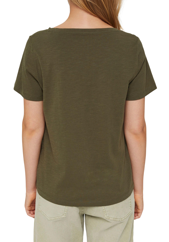 edc by esprit -  T-Shirt, mit tiefem V-Ausschnitt