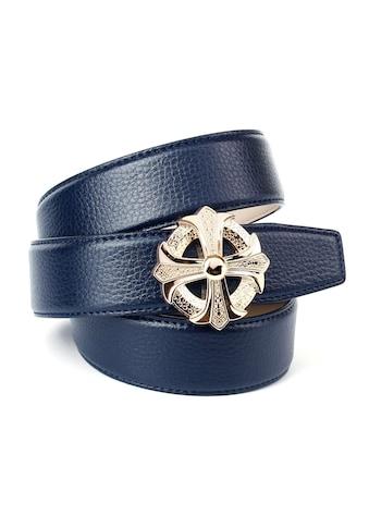Anthoni Crown Ledergürtel, mit silberfarbener runder Schließe als stilisiertes Kreuz kaufen