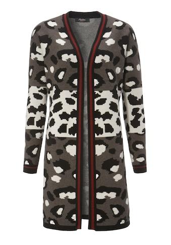 Aniston CASUAL Longstrickjacke, mit trendigem Animal-Print und gestreiften Bündchen -... kaufen