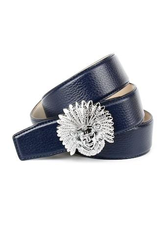 Anthoni Crown Ledergürtel, Schließe mit Indianer-Motiv und dunkelblauem Leder kaufen