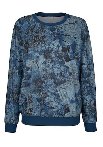 Mona Langarmshirt, mit floralem Druck in Jeansoptik kaufen