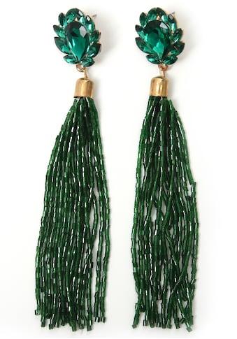 J.Jayz Paar Ohrstecker »Quaste, grün, ausgefallen«, mit Glassteinen kaufen