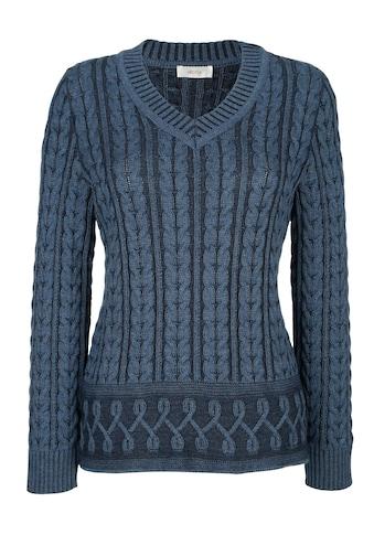 Mona V-Ausschnitt-Pullover, mit Kontraststrick-Elementen kaufen