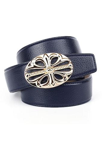 Anthoni Crown Ledergürtel, in dunkelblau mit Unterführung und glänzender Schließe kaufen