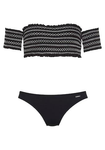 LASCANA Bandeau-Bikini, Mit smoke Effekten und Stickerei kaufen