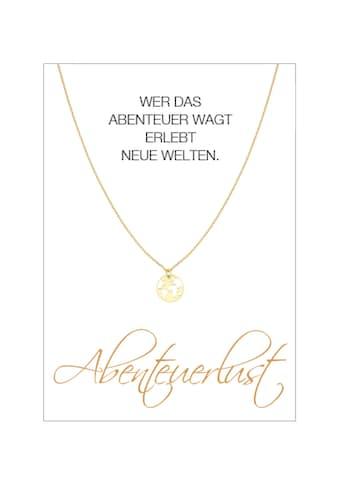 HERZ-KARTE Silberkette »Abenteuerlust«, gelbvergoldet mit Weltkarte, 925/- Sterlingsilber kaufen