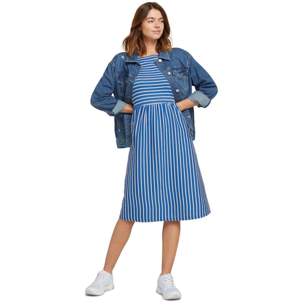 TOM TAILOR Denim Jerseykleid, im süßen Streifen Look