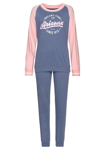 Arizona Mit Pyjama Folienprint College Im Meliert look Blau xIIg1Arq