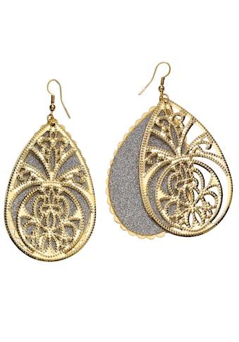 J.Jayz Paar Ohrhaken »Tropfen mit Ornamente in Bicolor-Optik« kaufen