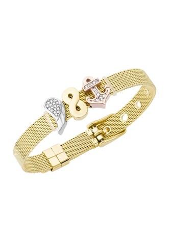 Jacques Charrel Armband »Milanaise mit Kristallsteinen Flügel, Infinity, Anker« kaufen