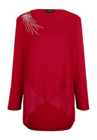 m. collection Langarmshirt, mit glitzernden Strasssteinen an der Schulter kaufen