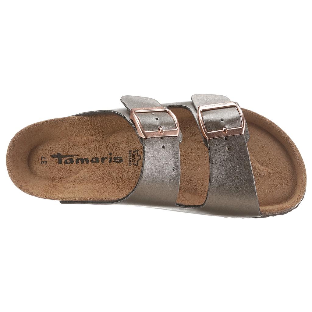 Tamaris Pantolette »CORRA«, im schöner Metallic-Optik