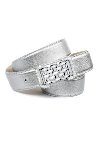 Anthoni Crown Ledergürtel, in Hirschprägung, Schließe in Gitter-Optik kaufen