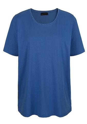 m. collection Rundhalsshirt, mit Dekosteinchen am Ausschnitt kaufen