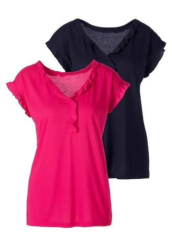 Beachtime T-Shirt, mit femininer Rüschenkante kaufen