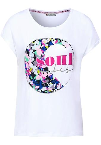 STREET ONE Rundhalsshirt »Yulius«, mit Glitterprint Details kaufen