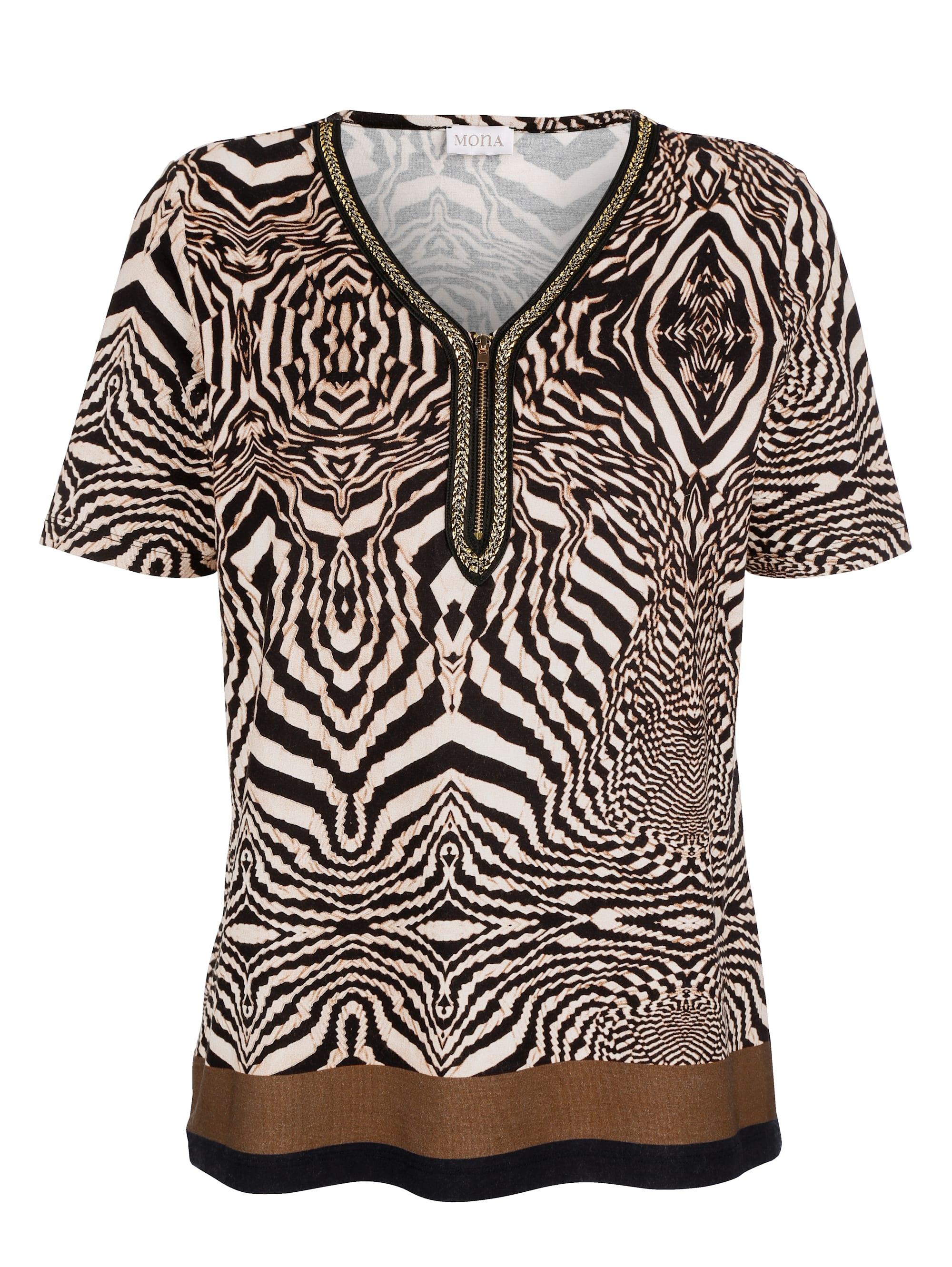 mona -  Kurzarmshirt, mit zierender Blende