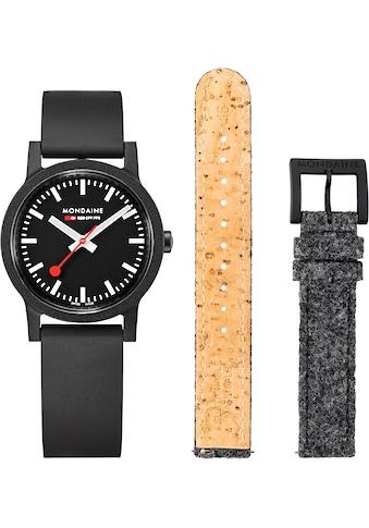 MONDAINE Schweizer Uhr »essence, MS1.32120.RB.SET«, (Set, 2 tlg., inkl. Wechselband aus dunkelgrauem PET-Filz) kaufen