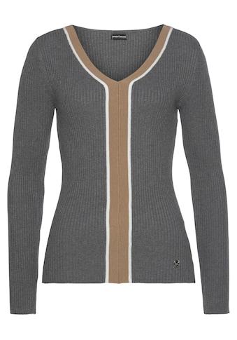 Bruno Banani V-Ausschnitt-Pullover, in Rippenqualität - NEUE KOLLEKTION kaufen