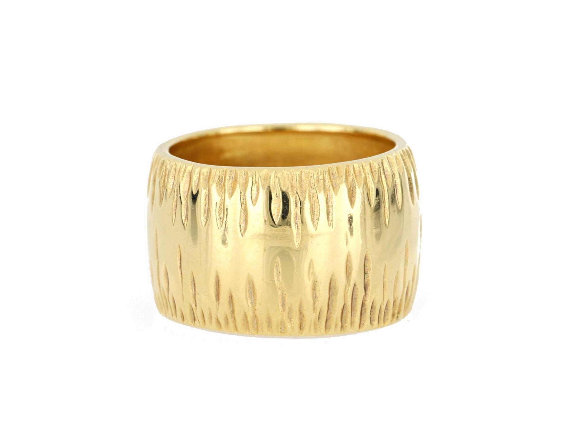 merch mashiah -  Fingerring Bandring, mat, Diamantschnitte, Bronze gelbvergoldet